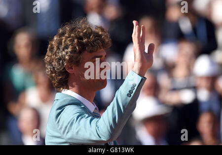 Gustavo Kuerten on day fifteen of the French Open at Roland Garros on June 7th, 2015 in Paris, France