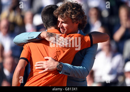 Novak Djokovic and Gustavo Kuerten on day fifteen of the French Open at Roland Garros on June 7th, 2015 in Paris, France