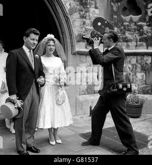 Wedding Day - Richard Baker and Margaret Martin - St Mary The Boltons Church - London - Stock Photo