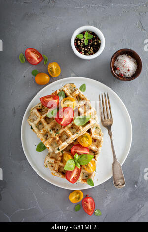 Vegetable and cheese savory waffles - Stock Photo