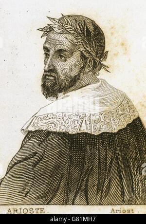 Ludovico Ariosto (1474-1533). Italian poet. Portrait. Engraving. - Stock Photo