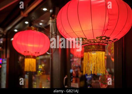 UK,London,Gerrard Street-Red Chinese lanterns in China Town - Stock Photo