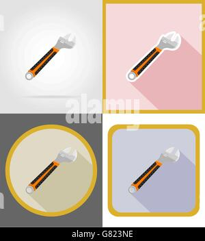 wrench repair and building tools flat icons vector illustration isolated on white background - Stock Photo