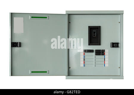 close up control box open on isolated with clipping path. - Stock Photo
