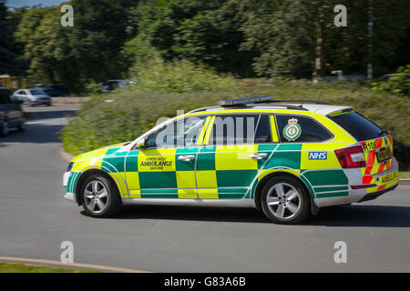 NHS Emergency Skoda NHS responding north west ambulance service on roundabout in Southport, Merseyside, UK - Stock Photo