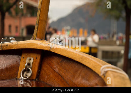 Bow of an old wooden sail boat in Cinque Terre Italy - Stock Photo