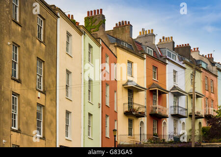 Row of colourful colorful period terraced houses in Bristol UK   edwardian victorian - Stock Photo