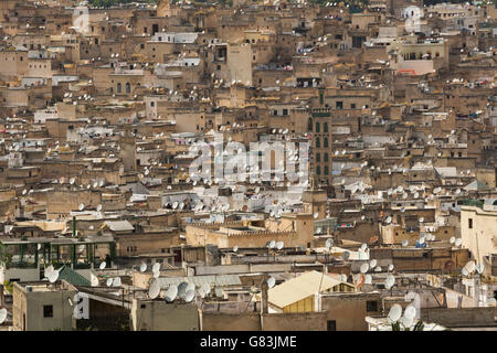 Satellite dishes dot rooftops in the old Medina of Fez, Morocco. - Stock Photo
