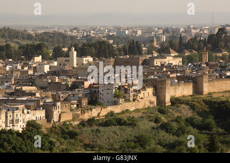 Ancient city walls line the old Medina of Fez, Morocco. - Stock Photo