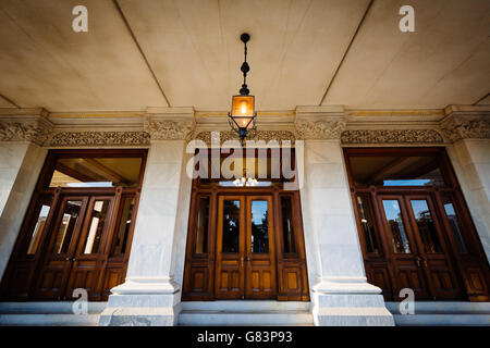 The entrance doors to the Connecticut State Capitol, in Hartford, Connecticut. - Stock Photo