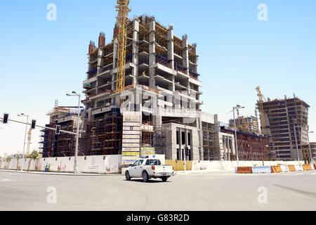 Al Bandary Engineering's Commercial Tower under construction. Marina District of rapidly developing new city of - Stock Photo
