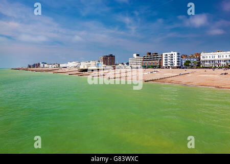The beach as seen from the Pier at Worthing West Sussex England UK Europe - Stock Photo