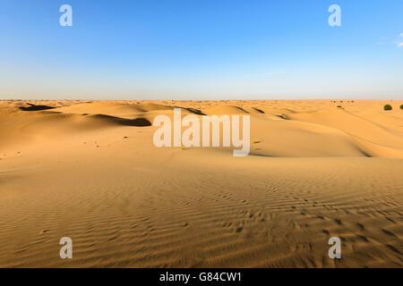 The beauty of the dunes in the desert of Dubai Emirates, United Arab Emirates - Stock Photo