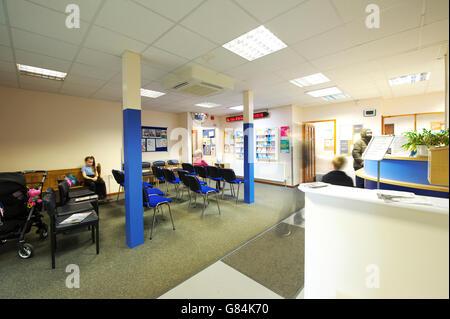 UK NHS GP Surgery waiting room - Stock Photo