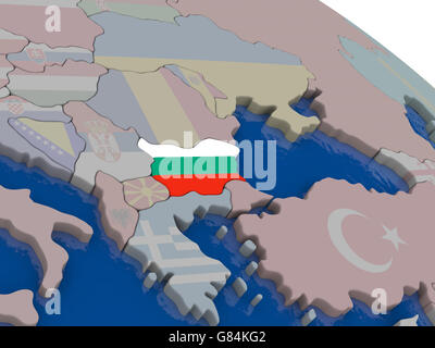 Bulgaria with flag highlighted on model of globe. 3D illustration - Stock Photo