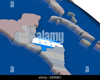 Honduras with flag highlighted on model of globe. 3D illustration - Stock Photo