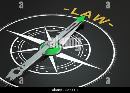 Law compass concept, 3D rendering - Stock Photo