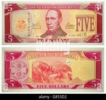 Banknote 5 dollars Liberia front and back isolated on white emitted on 2003. Edward J. Roye at center. Back: Female - Stock Photo
