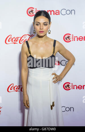 Actress Mila Kunis, one of the recipients of the Female Stars of the Year Award, attends the CinemaCon in Las Vegas - Stock Photo