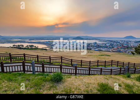 Sunset at Seongsan Ilchulbong, Jeju, South Korea - Stock Photo