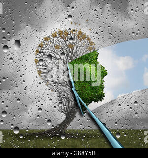 Reverse aging process and make young again medical concept or plastic surgery symbol as a wiper wiping away old - Stock Photo