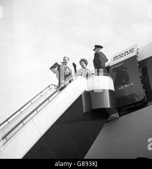 Royalty - Queen Elizabeth II and Prince Philip - London Airport - Stock Photo