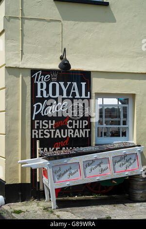 Appledore, a seaside village in North Devon England UK Royal Plaice fish and Chip shop - Stock Photo