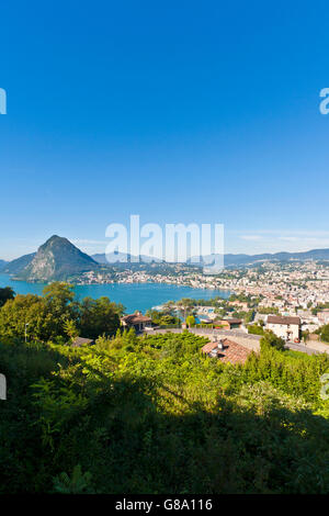 View over Lugano and Lake Lugano, Lago di Lugano, Ticino, Switzerland, Europe - Stock Photo