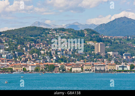 View over Lake Lugano towards Lugano, Lago di Lugano, Ticino, Switzerland, Europe - Stock Photo