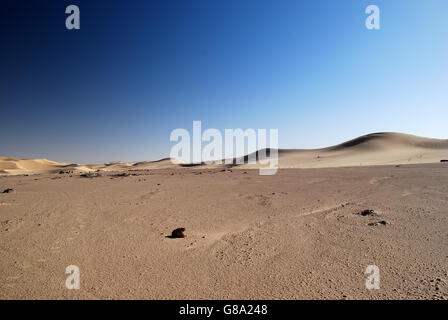 desert, Algeria, rocks, dunes, sand, blue sky, golden, isolated, empty, copy space, barren - Stock Photo