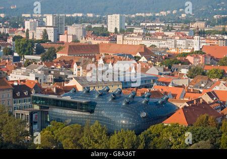 Overlooking Graz from Schlossberg hill, with Grazer Kunsthaus art museum in front, Graz, Styria, Austria, Europe - Stock Photo