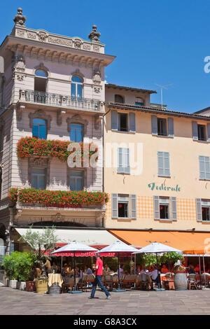 Restaurant and cafe on the Piazza della Riforma in Lugano, Lake Lugano, Lago di Lugano, Ticino, Switzerland, Europe - Stock Photo