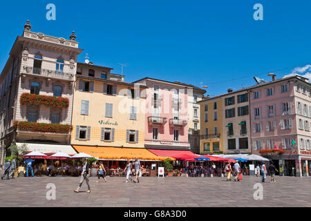 Restaurants and cafes on the Piazza della Riforma in Lugano, Lake Lugano, Lago di Lugano, Ticino, Switzerland, Europe - Stock Photo