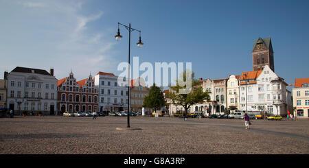 Gabled houses on the market, Wismar, Mecklenburg-Western Pomerania, PublicGround - Stock Photo
