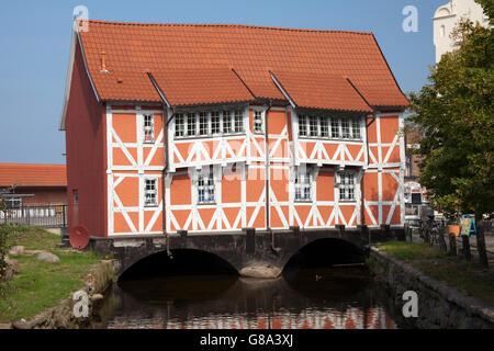 Half-timbered house 'Gewoelbe' on the Frische Grube brook, Wismar, Mecklenburg-Western Pomerania, PublicGround - Stock Photo