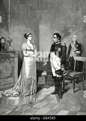 Queen Marie Louise, Duchess of Parma (1791-1847) and Napoleon I Bonaparte (1769-1821) at Tilsit. Engraving by A. - Stock Photo