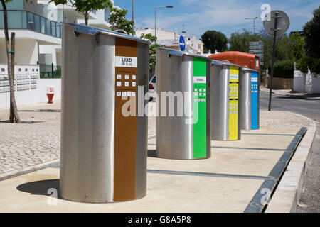 Roadside Recycling Bins in Alvor Portugal - Stock Photo