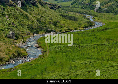 The Bushmans River in Giants Castle KwaZulu-Natal nature reserve, Drakensberg South Africa - Stock Photo