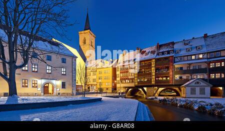 Kraemerbruecke with St. Giles Church tower in Erfurt, Germany - Stock Photo