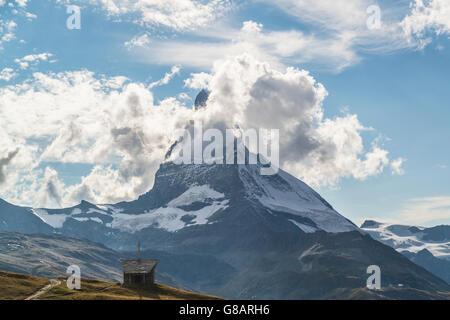 Chapel Riffelberg, Matterhorn, Zermatt, Switzerland - Stock Photo