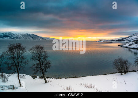 Sunset over Tromsø, Norway - Stock Photo