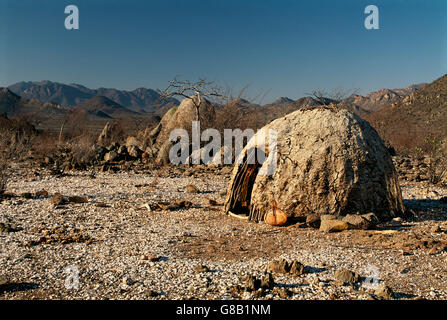 Angola, Himba hut - Stock Photo