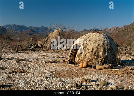 Angola, Himba hut - Stock Photo