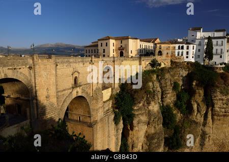 old town (La Ciudad), Puente Nueve, gorge El Tajo, Ronda, Andalusia, Spain - Stock Photo