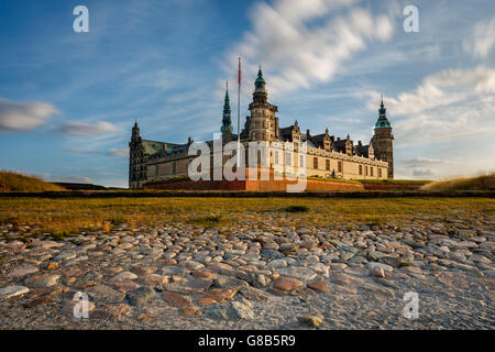 Kronborg Castle in Helsingor, Denmark seen at dusk. The Castle has been added to UNESCO's World Heritage Sites list - Stock Photo