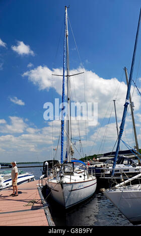 Sailboats moored at the marina in Garrykennedy on Lough Derg Tipperary Ireland - Stock Photo