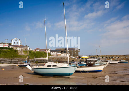 UK, Wales, Ceredigion, New Quay, boats in harbour at low tide - Stock Photo