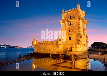 The tower of Belem at night in Lisbon - Stock Photo