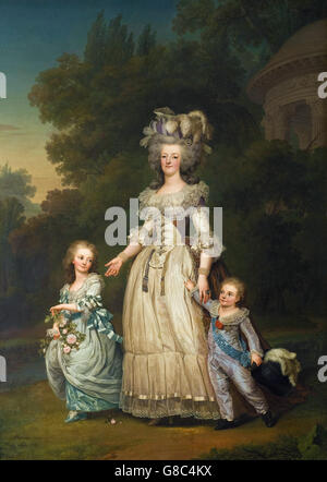 Adolf Ulrik Wertmüller - Queen Marie Antoinette of France and two of her Children Walking - Stock Photo