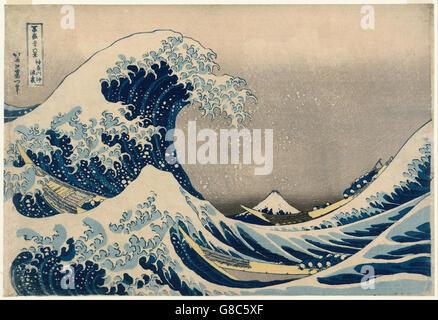 Katsushika Hokusai, published by Nishimuraya Yohachi (Eijudō) - Under the Wave off Kanagaw - Stock Photo